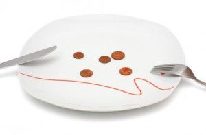 Concept of no money for food with coins and plate
